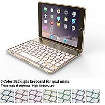 "iPad Mini 4Teclado Funda, elecguru f8smini + teclado inalámbrico Bluetooth Retroiluminado con 7-Color muti-angle soporte aleación de aluminio funda Protector Auto Sleep/Wake Up Clamshell Case Cover para iPad Mini 47.9"" dorado dorado"