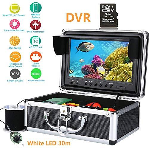 J.KM Fischfinder 30M Fischkamera 1000TVL HD DVR Recorder wasserdichte Fischen-Video-Unterwasserfischen-Kamera, 9 Zoll Farbe Digital LCD (Wolf-kamera Angeln)