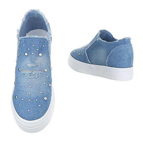 Damen Schuhe Halbschuhe Strass Slipper Freizeitschuhe Dunkelblau Blau