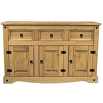 Home Discount® Corona 3-door 3-drawer Sideboard Solid Waxed Pine Mexican Furniture 1