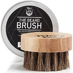 Cepillo para Barba Hombre - Pequeño Viaja Jabali no Cerda - Larga Pelo Macho Para Uso con Aceite de Barba, Bálsamo - Cepillo Redondo para Mejor Manejo Ergonómico para Cepilo y Bigote