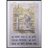 Winnie The Pooh souvenirs Citation d'impression page de dictionnaire vintage Photo Art mural