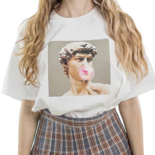 Gedruckt Hemd Für Damen Michelangelo David Statue Kaugummi Witzige Drucken Rundhals Lose T-Shirt Oberteile Kurzarm Lightweight Tops