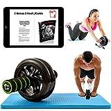 Rueda de ejercicio para abdominales, con apoyo para rodillas, con asas de espuma suave. Excelente para ejercitar el tronco