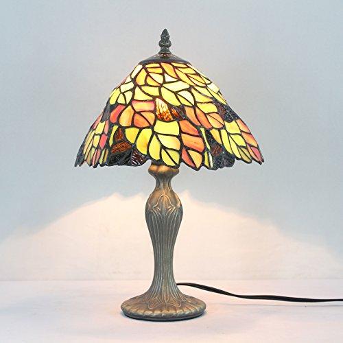 Gold Leaf 8 Licht (Gweat 8-Zoll-Pastoral Buntglas Tiffany Gold Leaf Tischlampe Schlafzimmer Lampe Nachttischlampe)