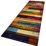 Wingbind Teppiche Rutschfeste große schick gemusterte Teppich Tür Bodenmatte Treppenauflagen Wohnzimmer Schlafzimmer Flur Küche Dekor New Home, farbiges Holz 2x6ft