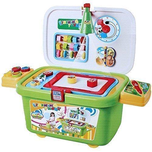 Lernspielzeug Lernbox Magnettafel Stempel Spielkiste Spielbox fahrbar Spielzeug (Fahrbare Kiste)