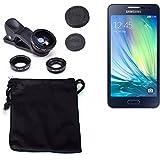 3in1 Samsung Galaxy A5 Obiettivo Lente 180° Fisheye, Gran Angular 0.67x, Macro amplicación Len negro - K-S-Trade