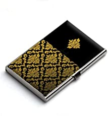 Heartzy Royal Golden Pattern In Black Card Holder