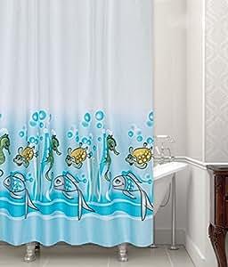 textil duschvorhang meerestiere 240x200 cm kinder duschvorhang fische seepferde inkl. Black Bedroom Furniture Sets. Home Design Ideas