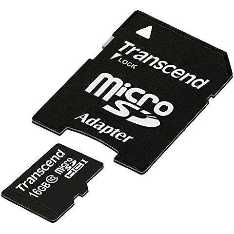 Transcend TS16GUSDHC10E Scheda di Memoria MicroSDHC da 16 GB con Adattatore, Classe 10