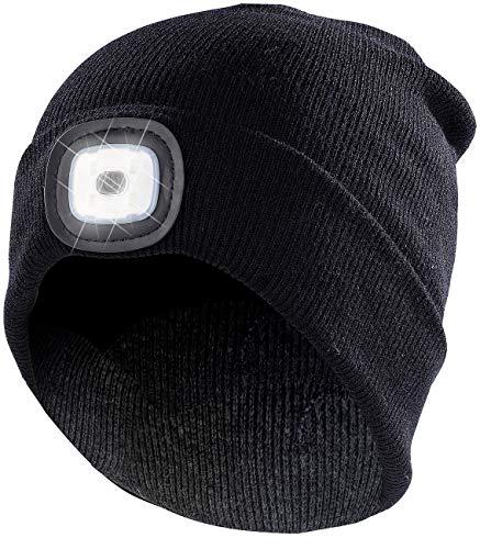 Lunartec Mütze LED: Schwarze Strickmütze mit LED-Licht und USB-Ladefunktion (Mütze mit LED Licht USB)