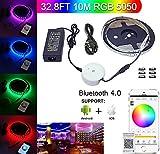Bluetooth LED Light, Topled Light® 32,8ft/10M Flessibile RGB 600Leds Strisce Illuminazione Kit con Smartphone App Controller + 24V 6A Alimentazione Adatto, Luce Strip per IOS/Android per Decorazione Festival