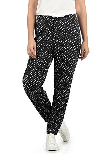BlendShe Amerika Damen Stoffhose Lange Hose Bequeme Loose Fit Hose, Größe:M, Farbe:Black dot (10010)