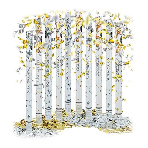 cm im Konfettikanonen Set, Konfetti Bombe für Hochzeit und Geburtstag, Konfetti Shooter 6-8 m Effekthöhe, gold / silber metallic ()