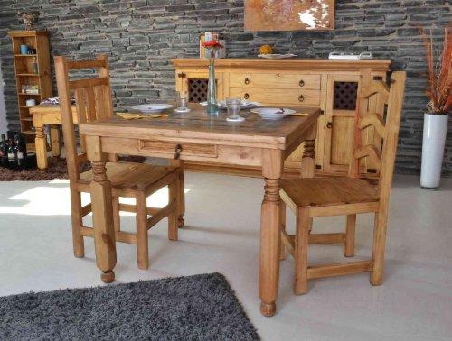 MiaMöbel Esstisch Mexico 90x76x90 cm Mexico Möbel Landhausstil Massivholz Pinie Honig