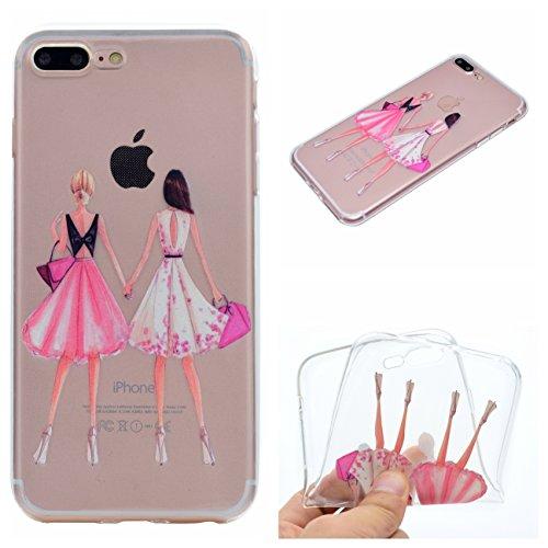iPhone 7 4.7 Hülle, Voguecase Silikon Schutzhülle / Case / Cover / Hülle / TPU Gel Skin für Apple iPhone 7 4.7(Erdmädchen) + Gratis Universal Eingabestift Zwei Mädchen