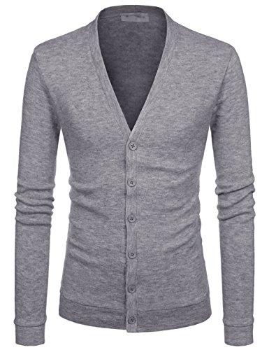 Nearkin Mens Knitwear City Casual Slim Cut Long Sleeve Cardigan Sweaters