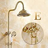 L'insieme di doccia oro placcato in stile europeo può sollevare e scendere l'asta di acquazzone tutta la testa di acquazzone calda e fredda del rame, E2