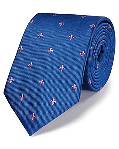 Royal and Pink Silk Classic Fleur-De-Lys Tie by Charles