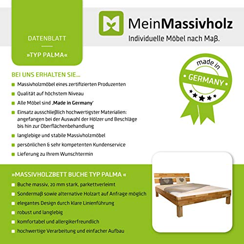 Bett PALMA Buche Massivholz – Made in Germany - 9