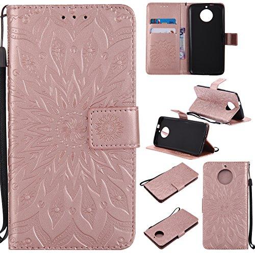 r Case für Motorola Moto G5S, Mandala Schutzhülle mit Kredit Karte Halter/Ständer, abnehmbare Langlebige Hülle Flip Cover Magnetverschluss für Moto G5S S Rose Gold ()
