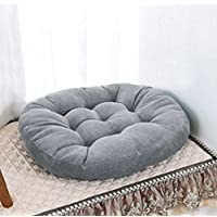 """Eazyhurry Corduroy Cushion Pad Patio Solid Color Thicken Chair Seat Cushion Round Stuffed Super Soft Polyester Cotton Mat Pad for Home Office Kitcken Gray 21.6"""" X 21.6"""""""