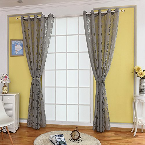 URIJK 100cmx250cm Transparent Gardine Voile Vorhang Blume Muster Dekoschal mit Ösen Fenster Dekoration Schlafenschal für Wohnzimmer Schlafzimmer Studierzimmer (1 Stück) (Grau(2 Stück))