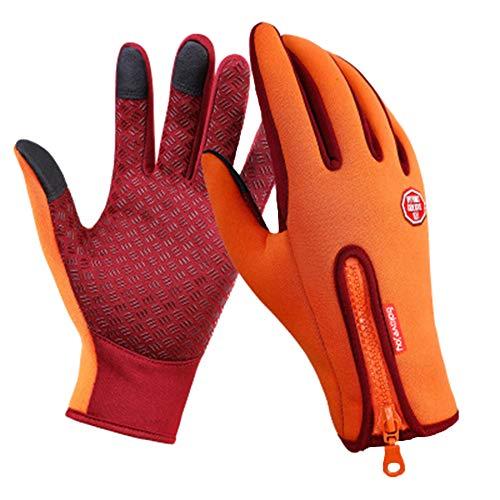 PengGengA Unisex Satin Rutschfest Schlank Reißverschluss Touchscreen Handschuhe Trainingshandschuhe Sport Rutschfest B02 Orange 1 M