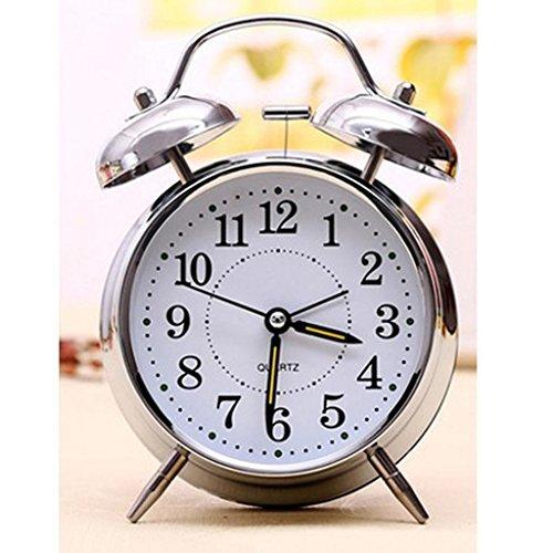 ELECTROPRIME 4'' Non-Ticking Quartz Analog Clock Nightlight Twin Bell Alarm Clock Silver