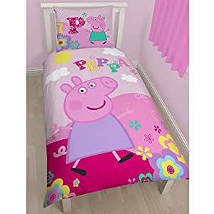 peppa pig bettw sche 2 tlg 80x80 135x200 cm 100 baumwolle deutsche standard gr e. Black Bedroom Furniture Sets. Home Design Ideas