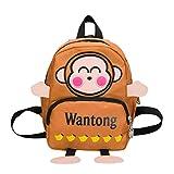 Leey Sacchetto di scuola del bambino dello zaino della lettera scimmia fumetto dei bambini neonata & ragazzo ragazzi e ragazze andare a vertirsiballare vestirsi quotidianamente viaggiare (marrone)