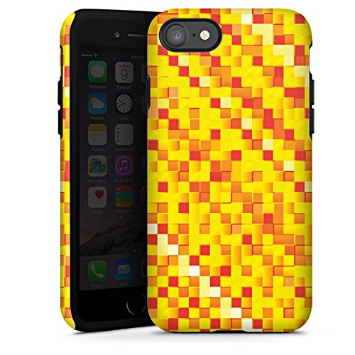 Apple iPhone X Silikon Hülle Case Schutzhülle Muster Pixel Rauten Tough Case glänzend