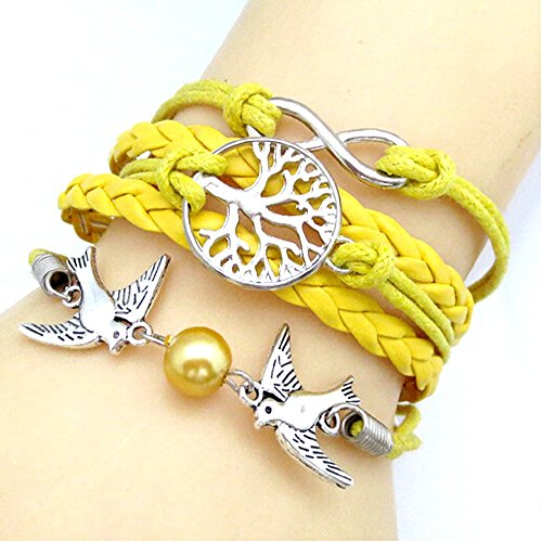 Armband Mit Endlosen Baum Symbol Des Lebens Und Tauben In 11 Farben Geschenkidee (Gelb) Zu WäHlen