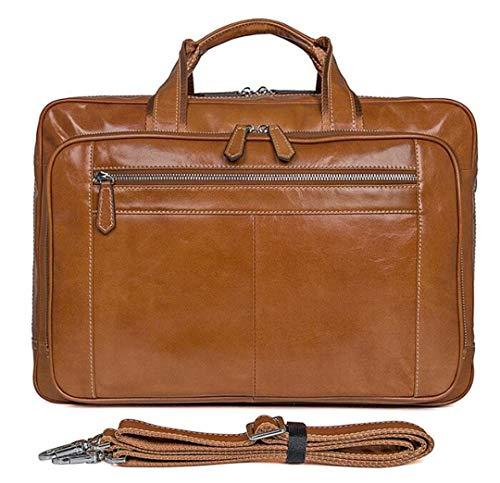 - Grain-leder-laptop Portfolio (Portfolio Full Grain Leather Business Aktentasche für Männer 17 Zoll Laptop-Taschen Große Kapazität Doppeltasche Braun Brown)