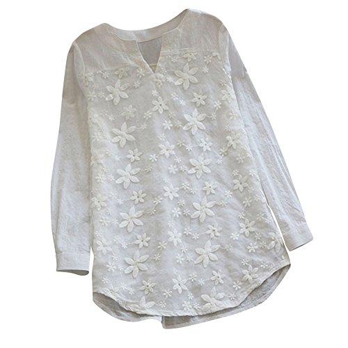 iHENGH Damen Bequem Mantel Lässig Mode Jacke Frauen Frauen mit Langen Ärmeln Vintage Floral Print Patchwork Bluse Spitze Splicing Tops(Weiß-1, XL) (Halloween T-shirts Bei Old Navy)