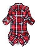 OCHENTA Blusen Damen Mittellangarm Aufkrempelnd Plaid Flanellhemd C001 Klassische Rot Etikett 3XL - EU M+/EU 39