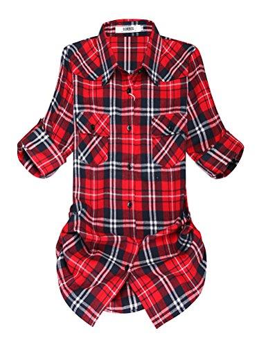 OCHENTA Blusen Damen Mittellangarm Aufkrempelnd Plaid Flanellhemd C001 Klassische Rot Etikett 4XL - EU M++/EU 40 (Roten Teppich Zurück)