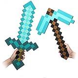 D-Tree - Replica in schiuma di Diamond Pickaxe e Sword, unisex per ragazzi, set da 2
