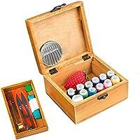 FRISTONE KIT DE COSTURA, cestas de costura caja de costura de madera organizador con útil y práctico de costura Accesorios Arancador Perfecto, Principiantes, Adultos