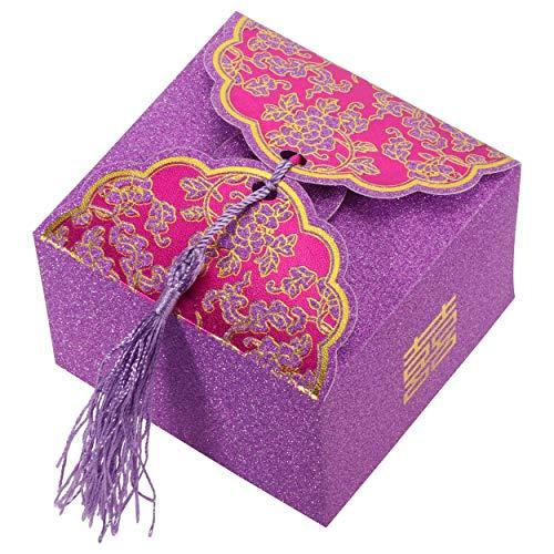 evorzugung Box Süßigkeiten Boxen Schokolade Geschenk Braut Dusche Baby kubisch mit Bändern (lila) (Bonbons oder Pralinen nicht enthalten) ()