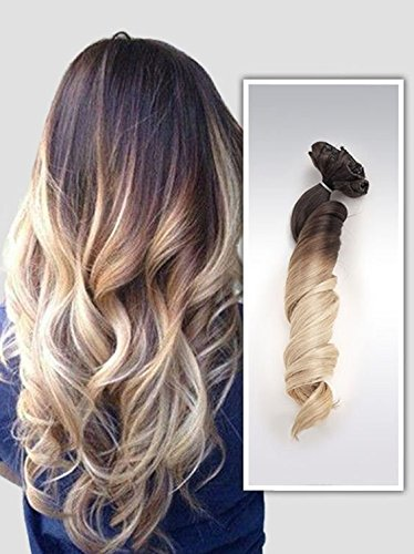 22 full head clip in hair extensions ombre wavy curly dip dye 6 22 full head clip in hair extensions ombre wavy curly dip dye 6 pcs dark brown to sandy blonde amazon beauty pmusecretfo Images