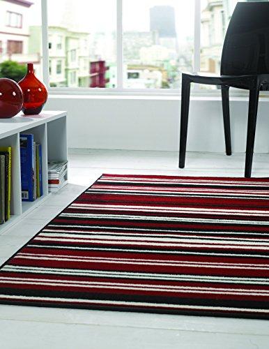 Moderno diseño de rayas lineal negro rojo largo pasillo alfombra/alfombrilla–60x 220cm