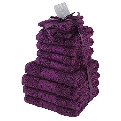 Dreamscene - Juego de Toallas de baño de 100% algodón Egipcio, Color Morado y Morado, 12 Piezas