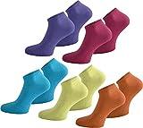 normani 20 Paar Sneaker Socken für Sie und Ihn - Viele Trendige Farben und Größen 35-50 wählbar! - Qualität Farbe Pink/Flieder/Orange/Gelb/Türkis Größe 37/42