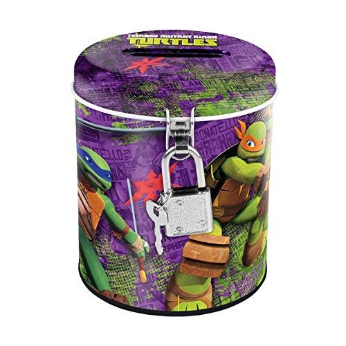 Maxi & Mini–Ninja Turtles Spardose rund aus Metall Verschluss mit Vorhängeschloss–Idee Geschenk (Mini-ninja Turtles)