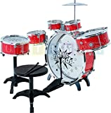Kit de batterie pour enfants Steinbach, batterie avec tabouret et 2 pilons, batterie batterie, tambour pour enfants - set drumset drumset 9-tlg - ROUGE