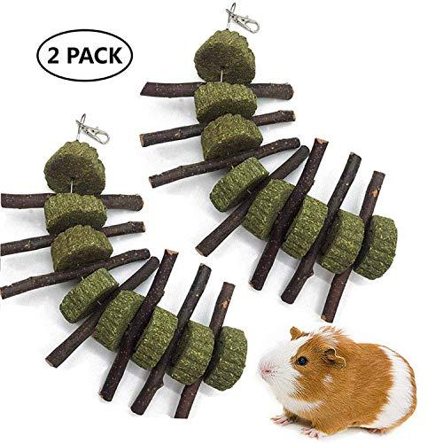 Ewolee Apfelholz Kleintiere Kauenspielzeug, natürliche lustige Gras Behandlung Ball Haustier Katze Molaren für Kaninchen Chinchillas Meerschweinchenhörnchen, 2 Stück -