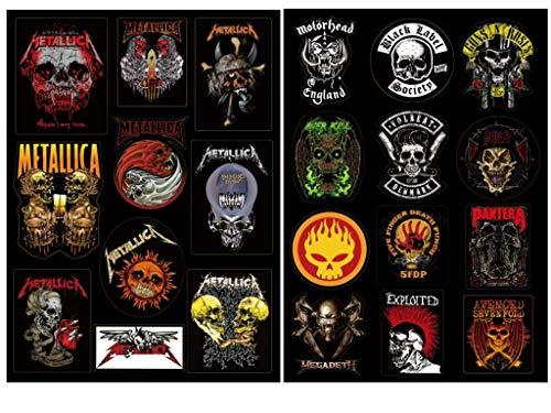 Shineko Metallica Skulls & Metal Band Skulls Collection Aufkleber/Sticker,Zwei Bögen Set