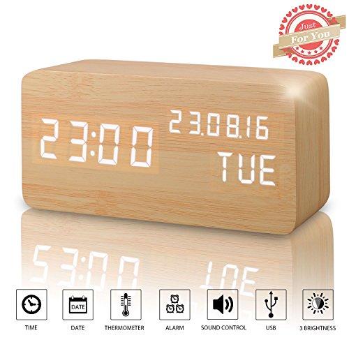 Sveglia Digitale da Comodino Colore Legno Naturale con Orario Tempo Data e Temperatura Display a LED, Sensore del Suono per l'attivazione Presa USB per Casa e Ufficio (Bambù)